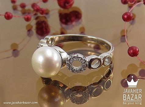 انگشتر نقره مروارید طرح نسیم زنانه - 38408