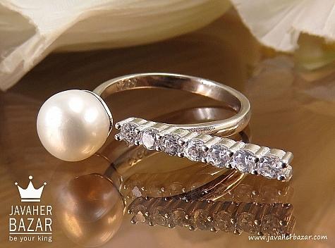 انگشتر نقره مروارید زیبا زنانه - 38423