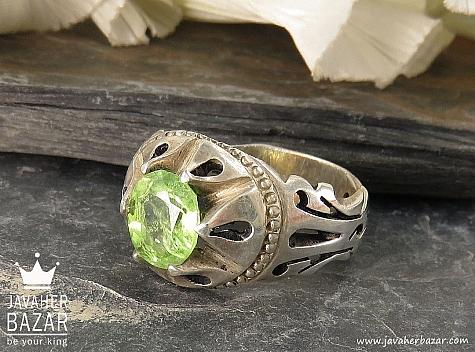 انگشتر نقره زبرجد شاهانه مردانه - 38443