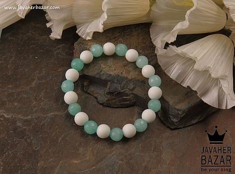 عکس دستبند جید آبی زنانه