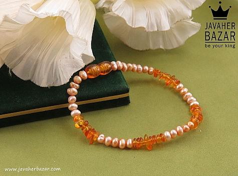 عکس دستبند کهربا نارنجی
