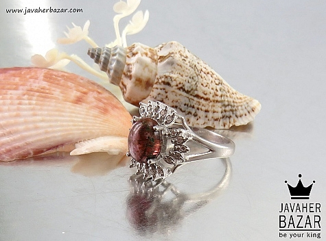 عکس انگشتر تورمالین قرمز زنانه