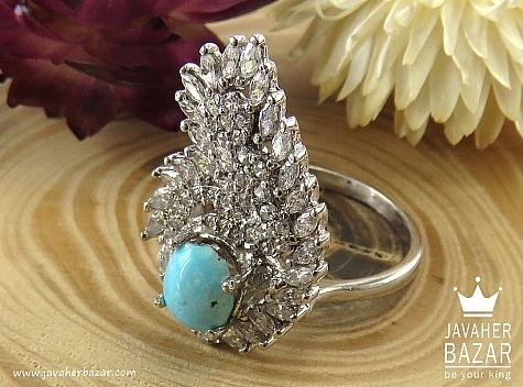 انگشتر فیروزه نیشابوری آبی زنانه