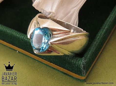 عکس انگشتر توپاز سوئیس آبی