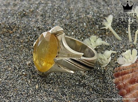 انگشتر یاقوت آفریقایی زرد مردانه