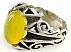 انگشتر نقره عقیق زرد شرف الشمس طرح بهرنگ مردانه - 40015 - 2
