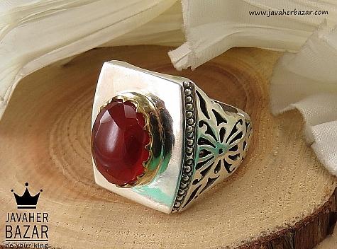 انگشتر نقره عقیق یمن الماس تراش مردانه دست ساز - 40451