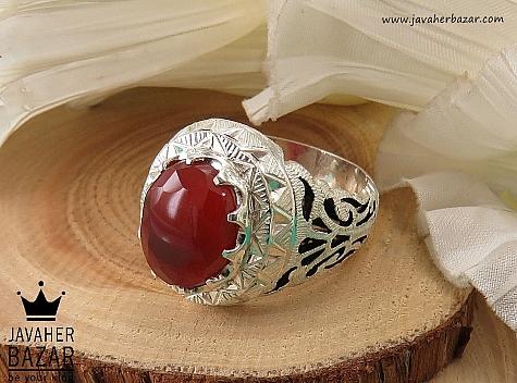 انگشتر نقره عقیق یمن الماس تراش مردانه - 40453
