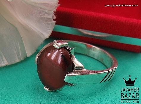انگشتر نقره عقیق چهارچنگ مردانه - 40602