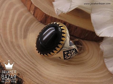 انگشتر نقره عقیق سیاه مردانه - 40684