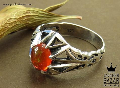عکس انگشتر اپال نارنجی مردانه