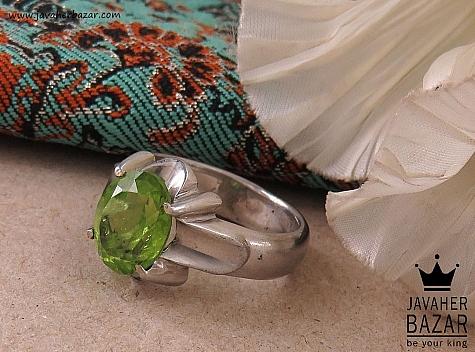 انگشتر نقره زبرجد چهارچنگ مردانه دست ساز - 41075