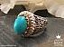 انگشتر نقره فیروزه مصری شاهانه مردانه دست ساز - 41168 - 1