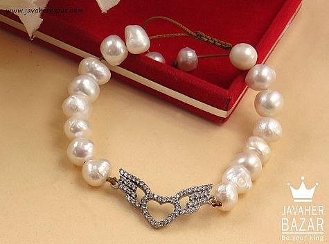 دستبند مروارید طرح قلب زنانه - 41344