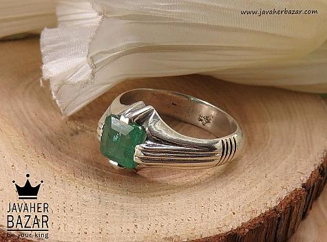 انگشتر نقره زمرد زامبیا شاهانه مردانه - 41488