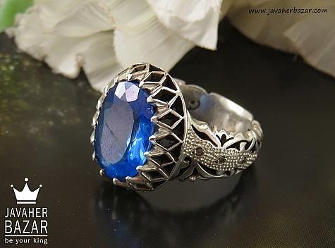 عکس انگشتر توپاز آبی مردانه