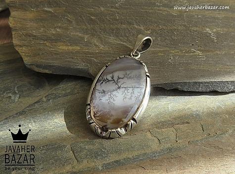 مدال نقره عقیق شجر خوش نقش دست ساز - 42011