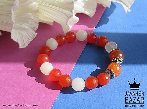 دستبند جید قرمز و سفید طرح محبوب زنانه - 42083