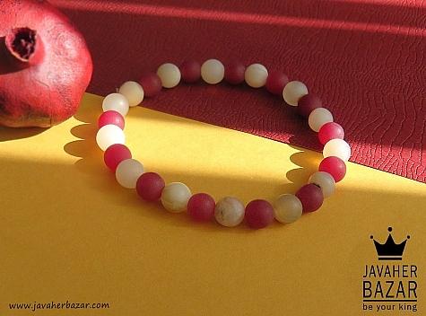 دستبند جید قرمز و سفید طرح حلما زنانه - 42112