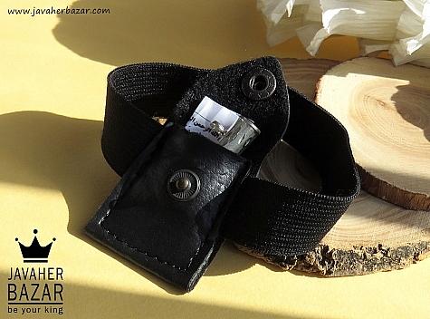 کیف نقره چرم طبیعی با حرز امام جواد وان یکاد و آیت الکرسی روی پوست آهو دست نویس - 42501