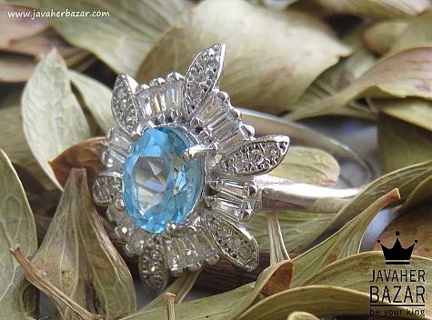 عکس انگشتر توپاز آبی زنانه
