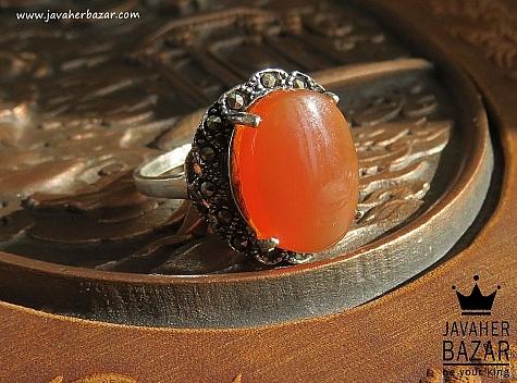 عکس انگشتر عقیق نارنجی زنانه