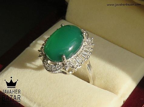 انگشتر نقره عقیق سبز زنانه - 43373