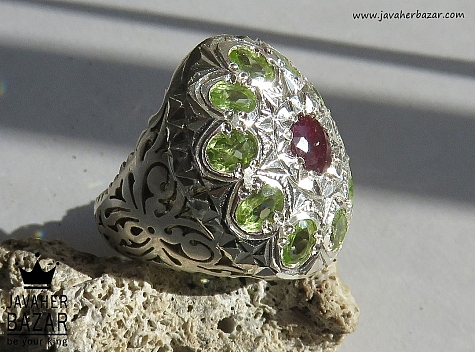 انگشتر نقره زبرجد یاقوت آفریقایی طرح سلطنتی مردانه - 44390