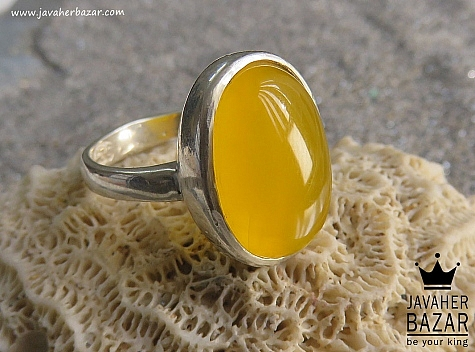 انگشتر نقره عقیق شاهانه مردانه - 44455