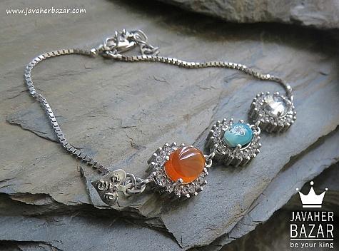 دستبند نقره عقیق و فیروزه و در نجف فاخر زنانه - 44585