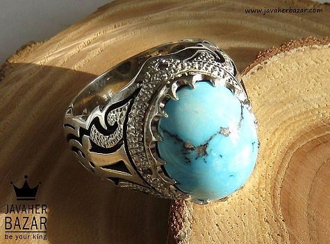 انگشتر فیروزه آبی مردانه