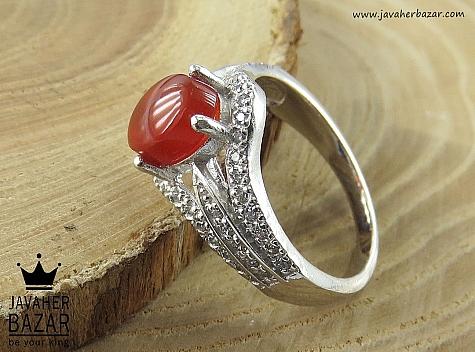 انگشتر نقره عقیق طرح نیایش زنانه - 45867