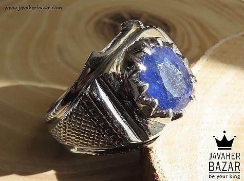 انگشتر یاقوت آفریقایی آبی مردانه