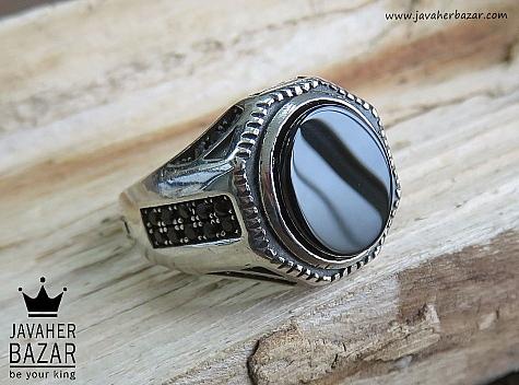 انگشتر نقره عقیق سیاه طرح رحمان مردانه - 46798
