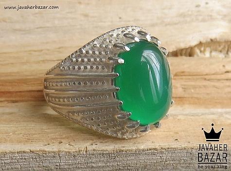 انگشتر نقره عقیق سبز طرح سنتی مردانه - 46822