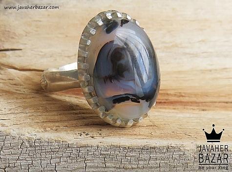 انگشتر نقره عقیق شجر زیبا مردانه - 46825