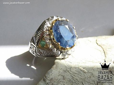 عکس انگشتر زمرد آبی مردانه