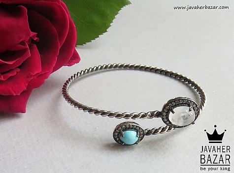 عکس دستبند فیروزه سفید زنانه