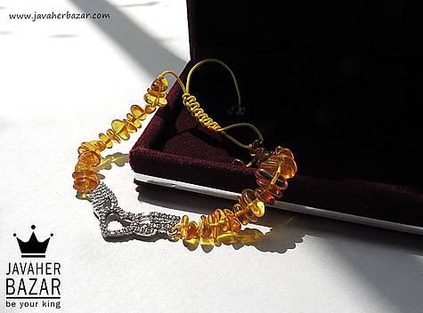 عکس دستبند کهربا نارنجی زنانه