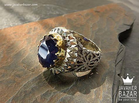 انگشتر یاقوت آبی مردانه