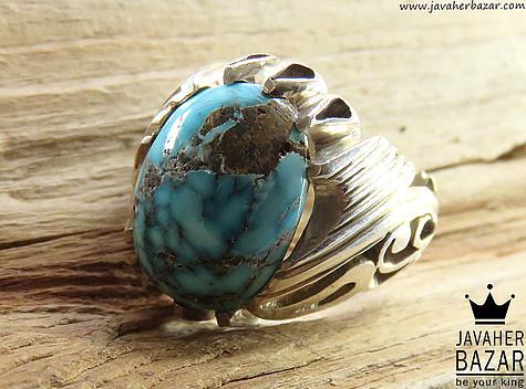 انگشتر فیروزه نیشابوری آبی مردانه