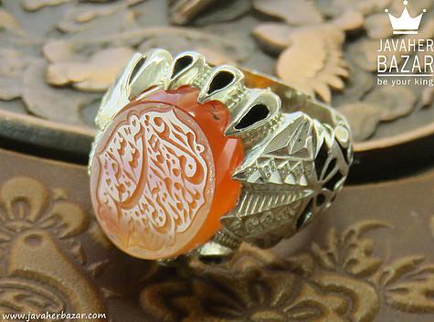 عکس انگشتر عقیق یمن نارنجی مردانه