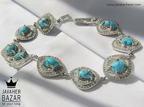 عکس دستبند فیروزه آبی زنانه