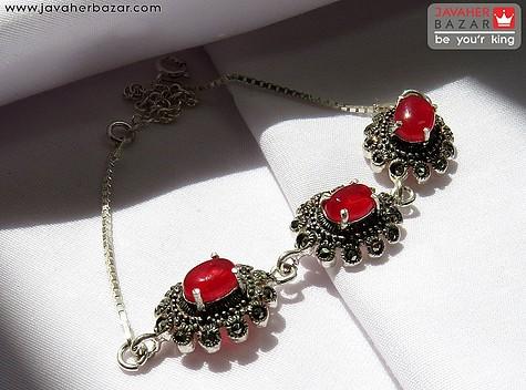 عکس دستبند جید قرمز زنانه