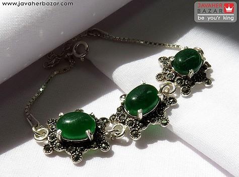 عکس دستبند عقیق سبز زنانه