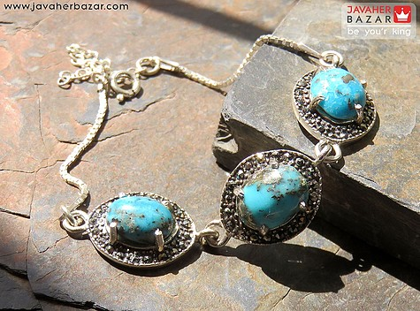 دستبند فیروزه آبی زنانه