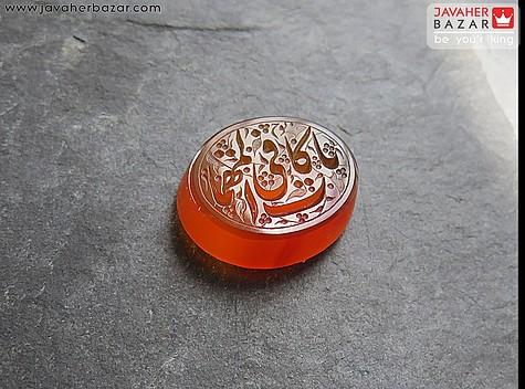 عکس نگین تک عقیق یمن نارنجی