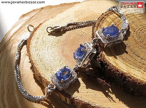 عکس دستبند یاقوت آفریقایی آبی زنانه
