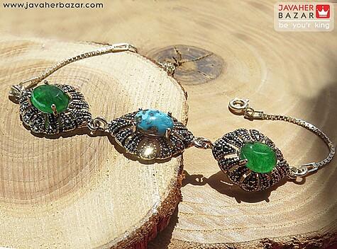 عکس دستبند فیروزه آبی
