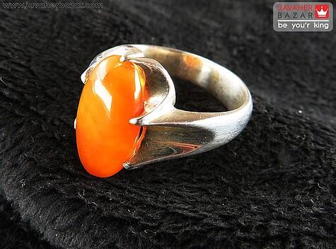 عکس انگشتر کهربا نارنجی مردانه